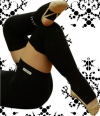 Pastorelli black long Senior leg warmers with foot, Art. 00481